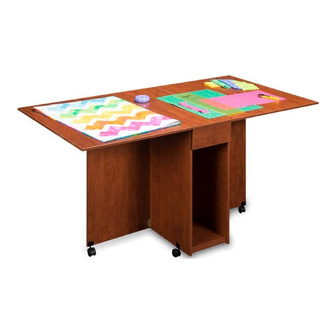 Assembled Cutting and Craft Table in Sunset Cherry