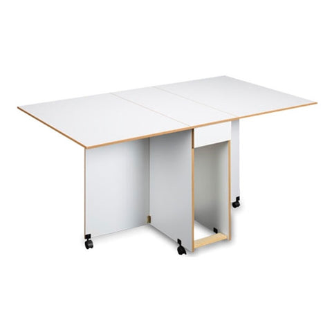 Assembled Cutting and Craft Table in White with Oak Trim