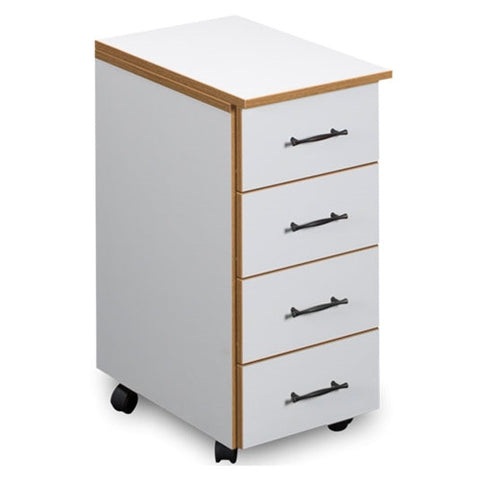 4 Drawer Storage Chest in White with Oak Trim