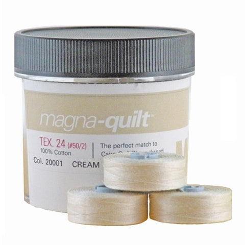 Magna-Quilt Class M Cotton Bobbin in Cream, Jar of 10