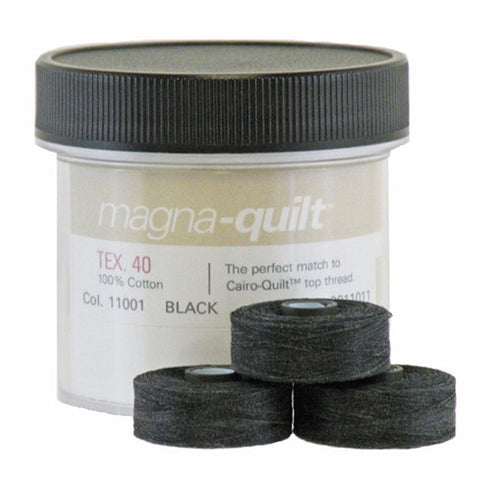 Magna-Quilt Class M Cotton Bobbin in Black, Jar of 10