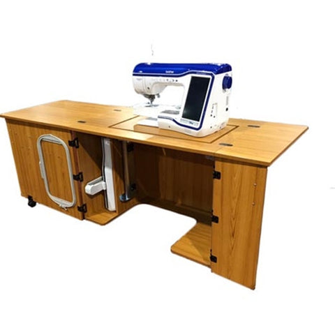 SewMate Large Opening Sewing Cabinet in Castle Oak