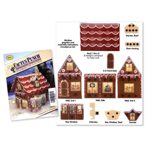3D Gingerbread House Embroidery CD by Cactus Punch