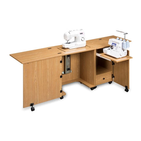Compact Sewing Machine & Serger Cabinet in Castle Oak