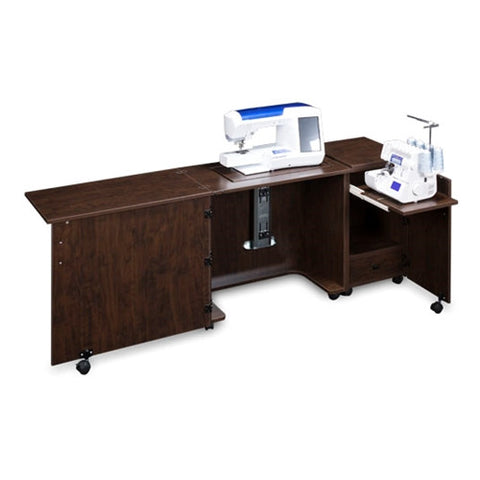 Sewing and Serger Cabinet Combo 1050 in Brown Pearwood