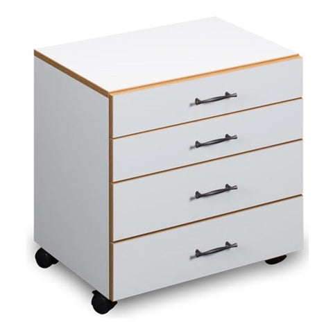 Sylvia Four Drawer Storage Chest in White with Oak Trim