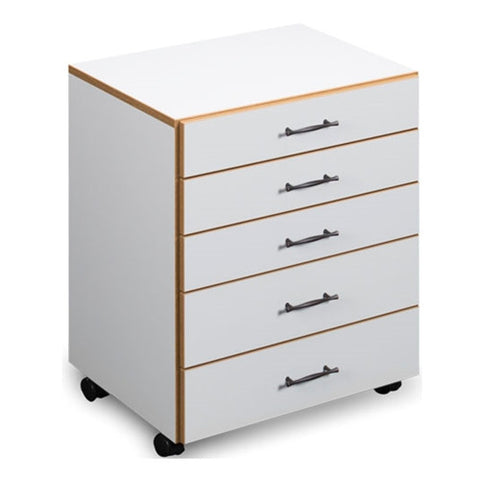 Roll About 5 Drawer Storage Chest in White