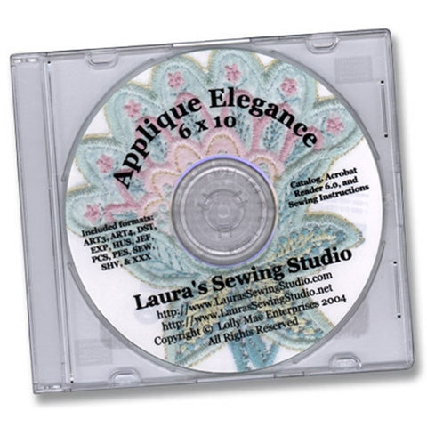 Applique Elegance 6 x 10 Designs CD by Laura's Sewing