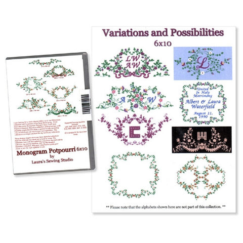 Monograms Potpourri 6x10 Design CD by Laura's Sewing