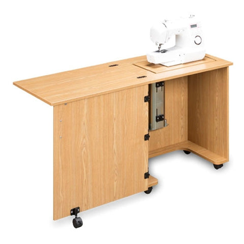 Compact Sewing Machine Cabinet in Castle Oak