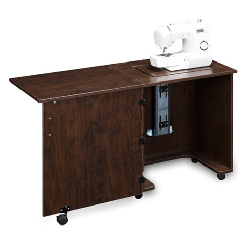 Compact Sewing Machine Cabinet in Brown Pearwood