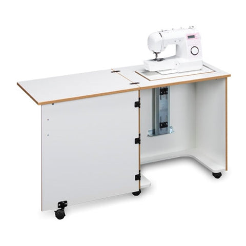 Compact Sewing Machine Cabinet in White with Oak Trim