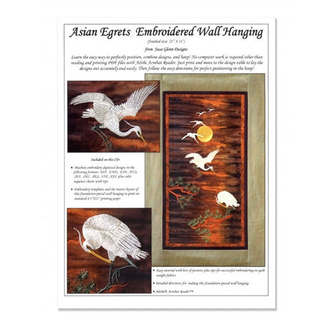 Asian Egrets Embroidered Wall Hanging CD by Susa Glenn