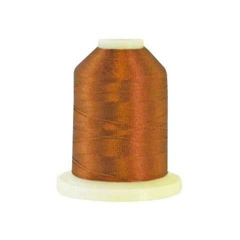A Chocolate brown colored 1100 yd mini king spool of Robison-Anton 40wt Rayon that is vivid, high luster and super-smooth in appearance.