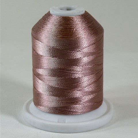 A Grape purple colored 1100 yd mini king spool of Robison-Anton 40wt Rayon that is vivid, high luster and super-smooth in appearance.