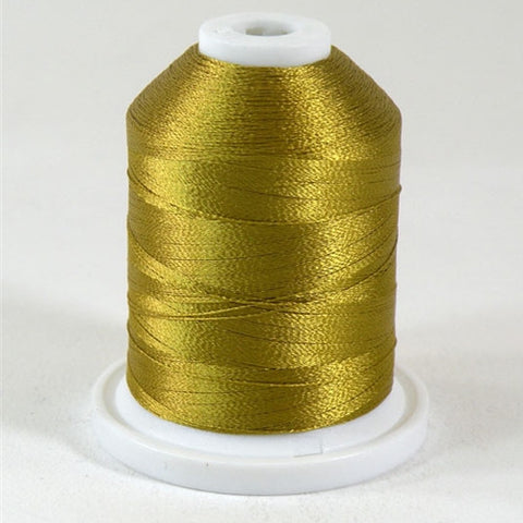 A Ginger colored 1100 yd mini king spool of Robison-Anton 40wt Rayon that is vivid, high luster and super-smooth in appearance.