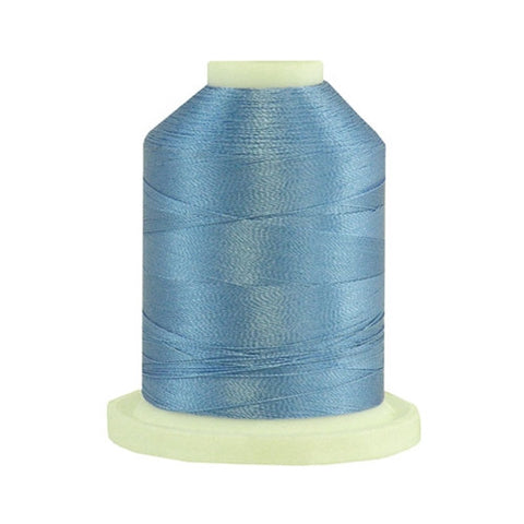 A Blue Horizon colored 1100 yd mini king spool of Robison-Anton 40wt Rayon that is vivid, high luster and super-smooth in appearance.