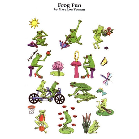 Frog Fun Embroidery Design CD by Mary Lou Yetman