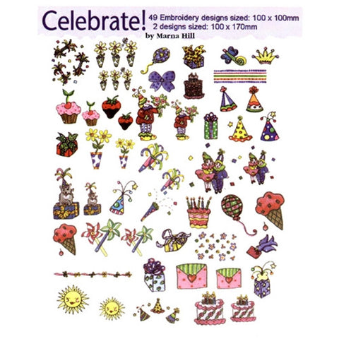 Celebrate Embroidery Design CD by Marna Hill