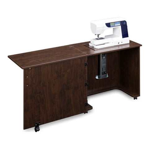 Compact Quality Sewing Machine Cabinet in Brown Pearwood