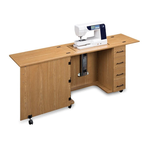 Sewing Machine Desk with 4 Drawers in Castle Oak