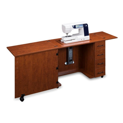 Sewing Machine Desk with 4 Drawers in Sunset Cherry
