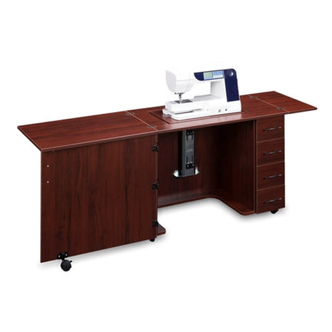 Sewing Machine Desk with 4 Drawers in Mahogany