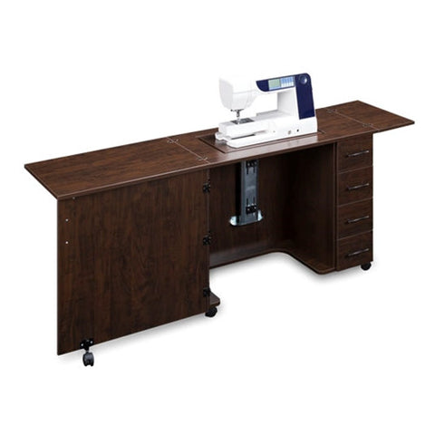 Sewing Machine Desk with 4 Drawers in Brown Pearwood