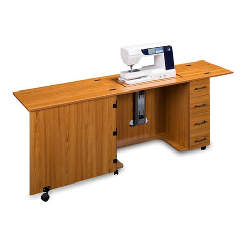 Sewing Machine Desk with 4 Drawers in Teak