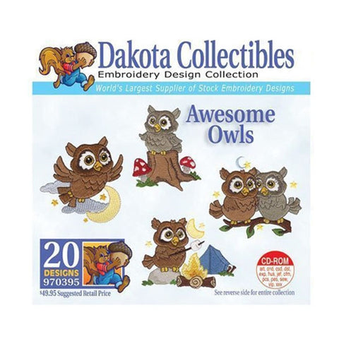 Dakota Collectibles Awesome Owls Embroidery Design CD