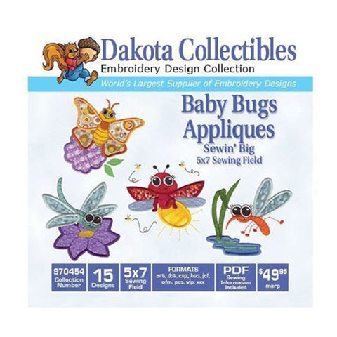 Dakota Collectibles Baby Bugs Applique Embroidery Design CD