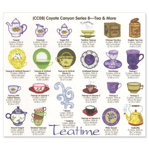 Coyote Canyon Tea & More Embroidery CD by Cactus Punch