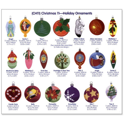 Holiday Ornaments Embroidery CD by Cactus Punch