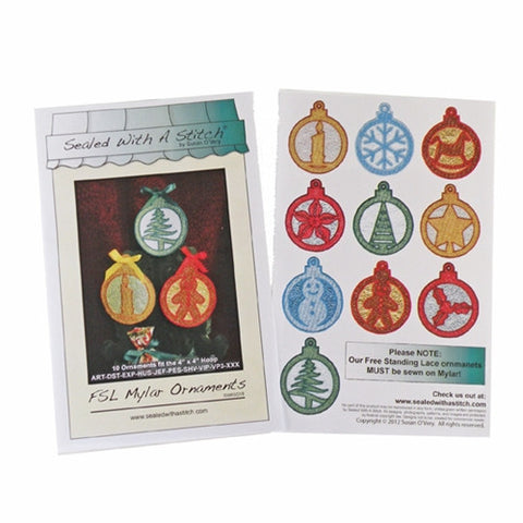 "FSL Mylar Christmas Ornaments 4"" x 4"" Designs"