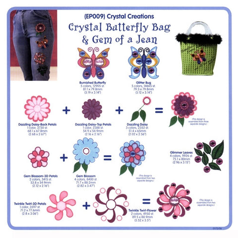 Crystal Flowers Embroidery CD by Cactus Punch
