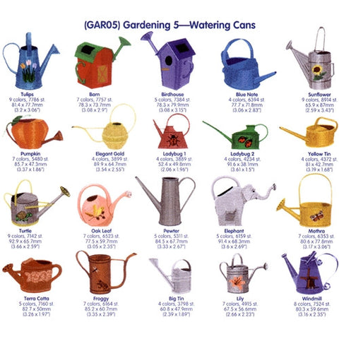 Garden Watering Cans Embroidery CD by Cactus Punch