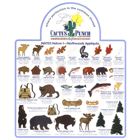 Northwoods Appliques Embroidery CD by Cactus Punch