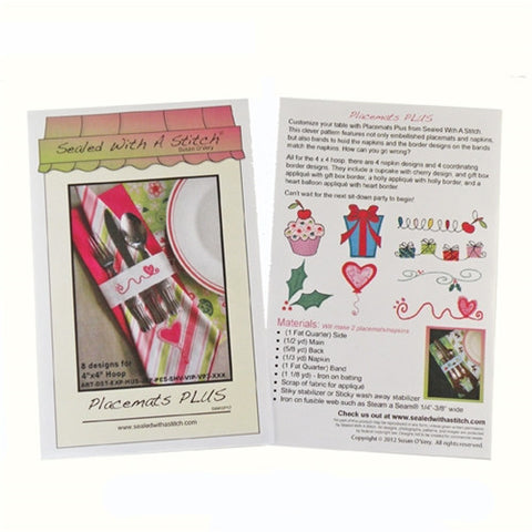 "Placemats PLUS Sewing Pattern & 4"" x 4"" Designs"