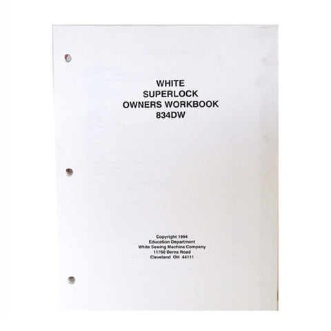 Owner Workbook Pages for White Sergers 1900,834DW,634D