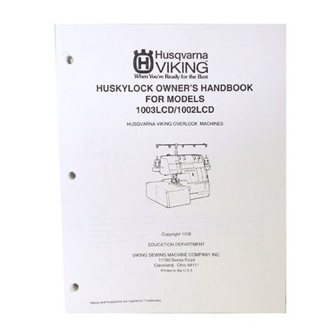 Owner Workbook Pages for Huskylock 1003LCD & 1002LCD