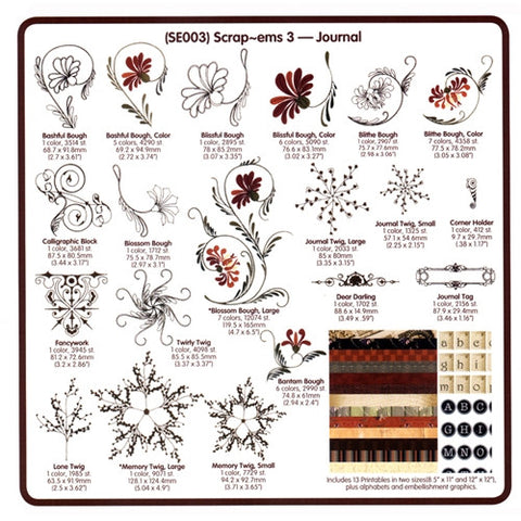 Scrap-Ems Journal Embroidery CD by Cactus Punch