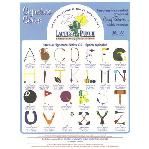 Sports Alphabet Embroidery CD by Cactus Punch