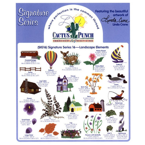 Landscape Elements Embroidery CD by Cactus Punch