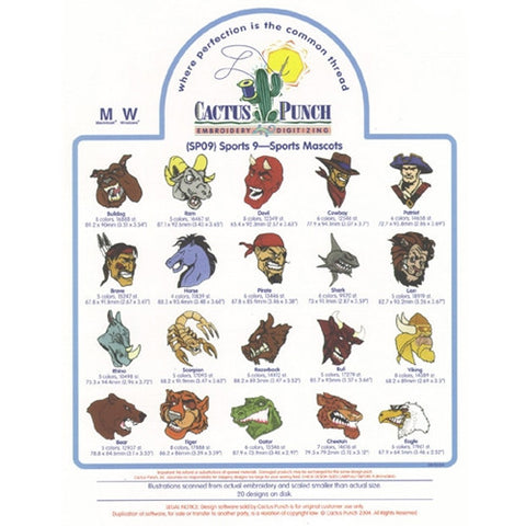 Sport Mascots Embroidery CD by Cactus Punch