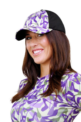 Purple Camo Printed cap with soft mesh
