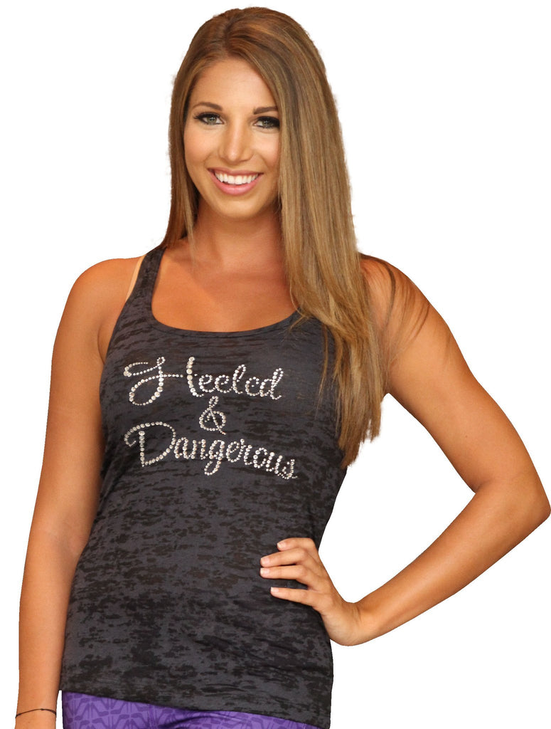 Heeled & Dangerous Black Rhinestone Burnout Tank