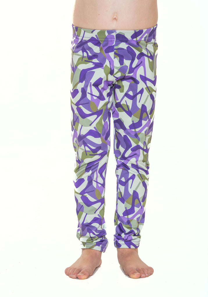 Girls Camo Purple Leggings