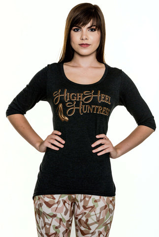 High Heel Huntress Hi Low Tunic with Brown Logo