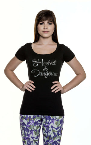 Heeled & Dangerous Rhinestone Scoop Neck Tee