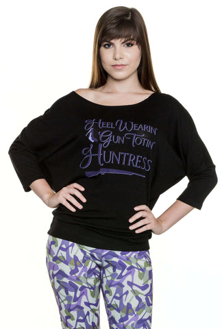 Gun Totin' Huntress ¾ Sleeve Dolman Stylish Tee